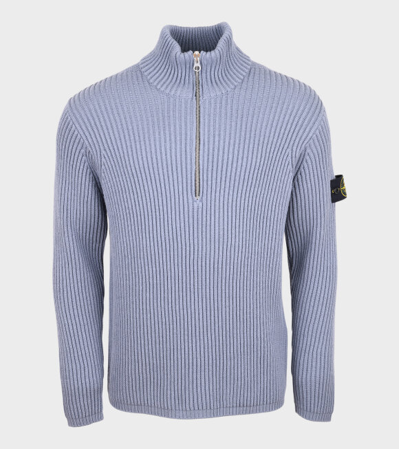 Stone Island - High Neck Zip Knit Blue