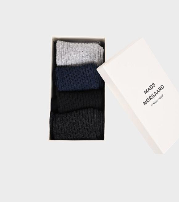 Mads Nørgaard  - Anton Sock Box Navy/Black/Greys