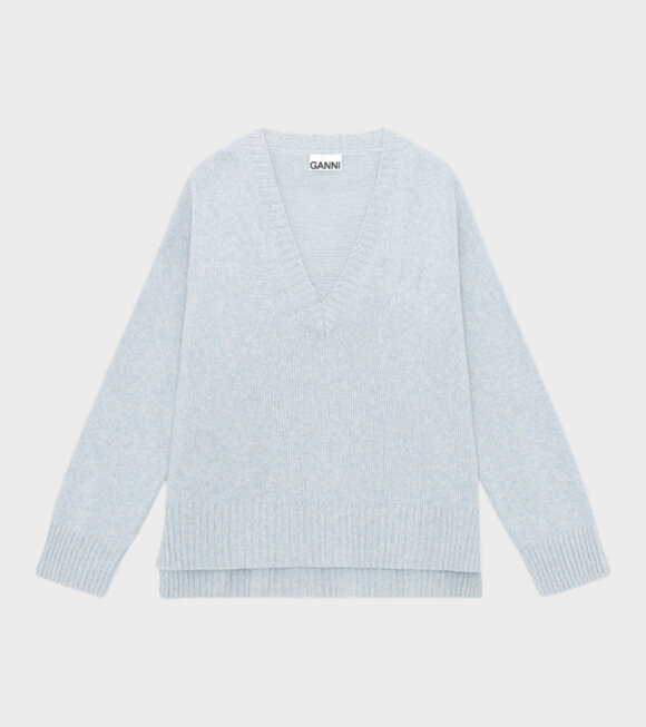 Ganni - Wool Mix V-Neck Airy Blue