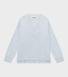 Wool Mix V-Neck Airy Blue