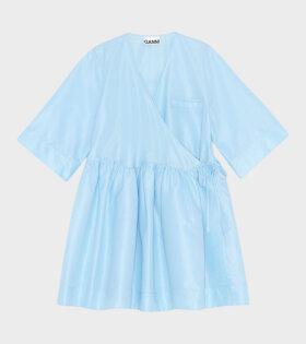 Crispy Taffetta Dress Blue, Ganni, Kjole,