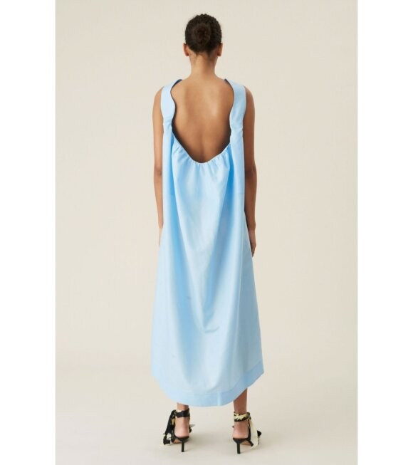 Ganni - Crispy Taffetta Long Dress Blue
