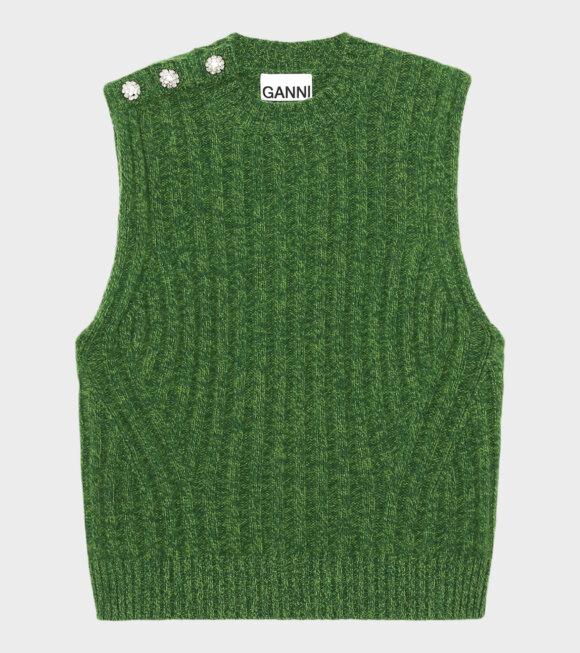 Ganni - Wool Mix Vest Green