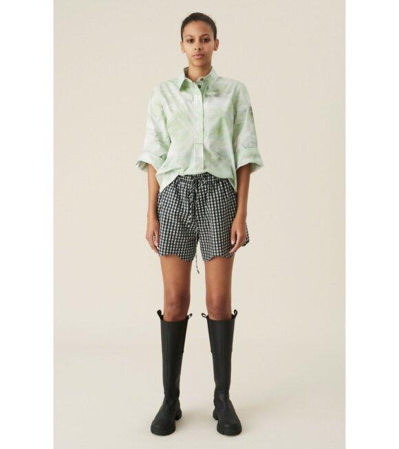 Ganni - Seersucker Check Shorts Black