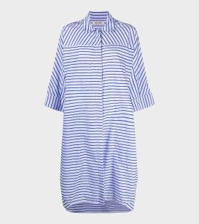 Henrik Vibskov - Funnel Shirtdress Bright Blue Stripes