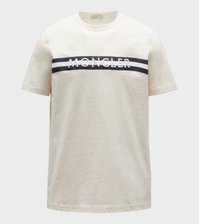 Moncler - Maglia Tee Striped Logo Off-White