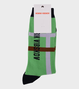 Henrik Vibskov - Big Check Socks Green/Lavander