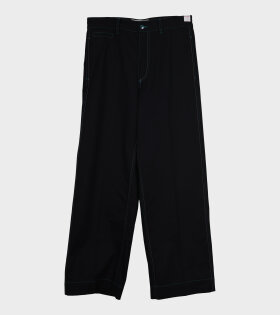 Contrast Stiching Trousers Black - dr. Adams