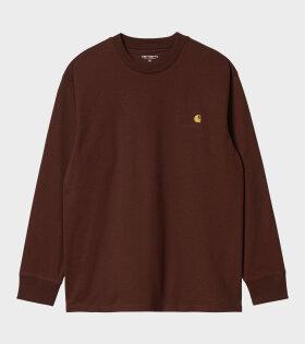 L/S T-shirt American Script Brown