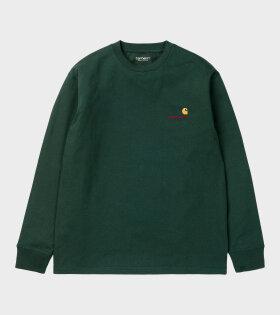 L/S T-shirt American Script Green