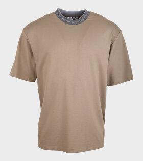 Acne Studios - Logo Collar T-shirt Dark Beige