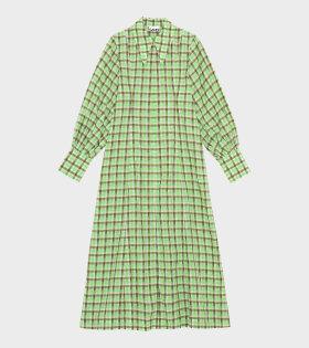 Seersucker Check Dress Green - dr. Adams