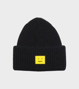 Acne Studios - Face Logo Beanie Black/Yellow