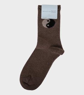 Yin Yang Cashmere Crew Socks Walnut