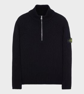 Stone Island - High Neck Zip Knit Black