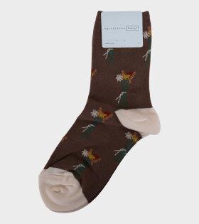 Full Bloom Crew Socks Mocha