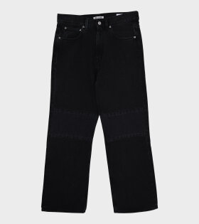 Extended Third Cut Denim Jeans Washed Black