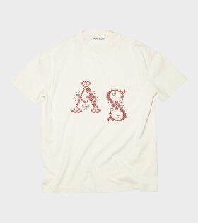 Acne Studios - Embroidered T-shirt Ecru Beige