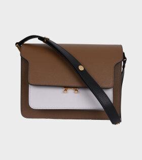 Medium Trunk Saffiano Bag Brown/Grey
