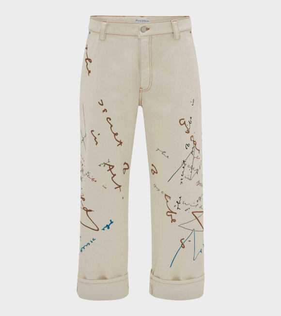 JW Anderson - Oscar Wilde Printed Jeans Off-White