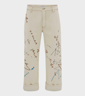 Oscar Wilde Printed Jeans Off-White