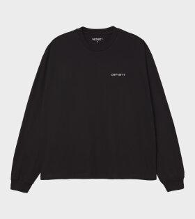 W L/S Script Embroidery T-shirt Black