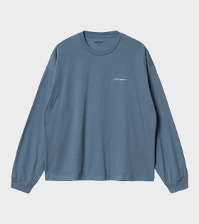 W L/S Script Embroidery T-shirt Blue