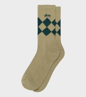 Argyle Jacquard Crew Socks Beige/Green