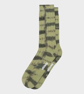 Dyed Stripe Ribbed Crew Socks Green
