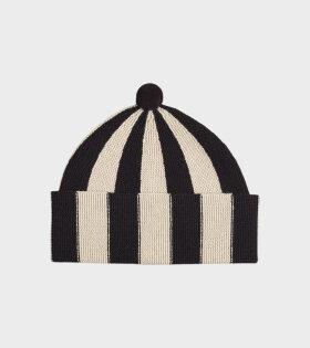 Jo Gordon - Vertical Stripe Hat Black/Oatmeal