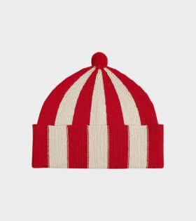 Jo Gordon - Vertical Stripe Hat Poppy/Oatmeal