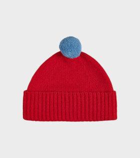 Jo Gordon - Plain Hat Contrast Pompom Poppy/Fiji
