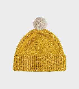Jo Gordon - Plain Hat Contrast Pompom Golden Eye/Oatmeal