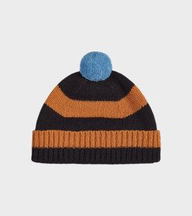 Jo Gordon - Stripe Pompom Hat Black/Sienna