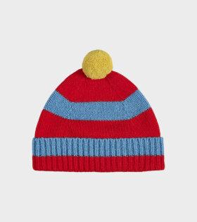 Jo Gordon - Stripe Pompom Hat Poppy/Fiji