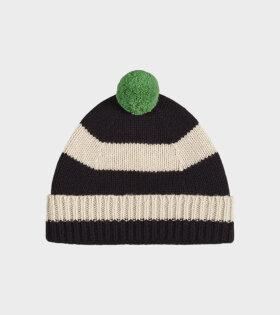 Jo Gordon - Stripe Pompom Hat Black/Oatmeal