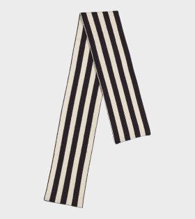 Jo Gordon - Brushed Vertical Stripe Scarf Black/Oatmeal