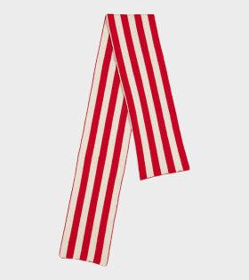 Jo Gordon - Brushed Vertical Stripe Scarf Poppy/Oatmeal