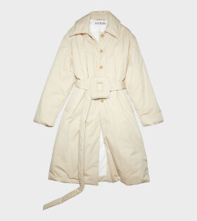 Belted Padded Coat Beige
