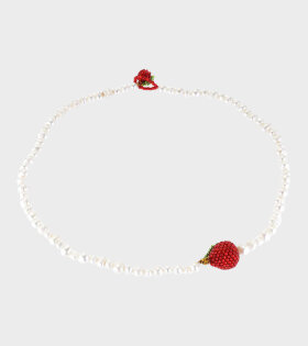 Pura Utz - Pearl Apple Necklace White/Red