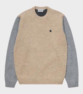 Carhartt WIP - Triple Sweater Dusty Brown/Grey Heather