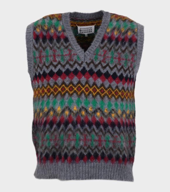 Maison Margiela - Wool V-neck Vest Grey/Multicolor