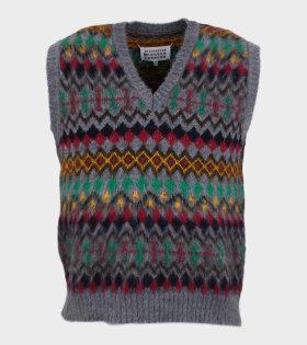 Wool V-neck Vest Grey/Multicolor
