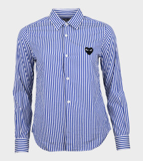 W Black Heart Striped Shirt White/Blue