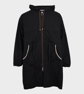 Patch Hooded Coat Black