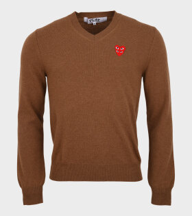 M Red Double Heart Knit Brown