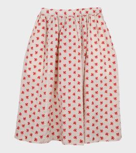 Embroidered Midi Skirt White/Red