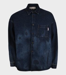 Abstract Print Denim Shirt Blue