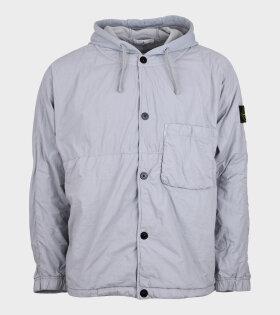 Hooded Nylon Patch Overshirt Grey