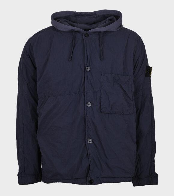Stone Island - Hooded Nylon Patch Overshirt Navy